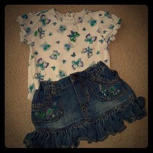 LIKE NEW The Children's Place onesie & jean skirt